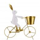 Poly rabbit Kalle on wheel, L22cm, W6cm, H23cm, wh